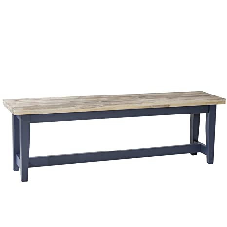 Awesome Florence Navy Blue Kitchen Bench With Limed Seat Quality Wooden Bench Lamtechconsult Wood Chair Design Ideas Lamtechconsultcom
