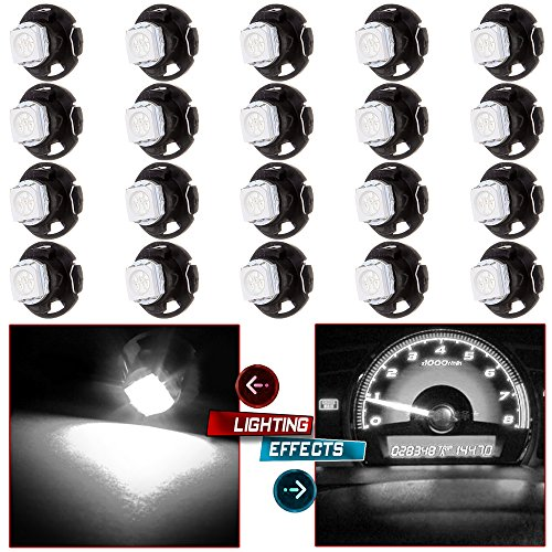 cciyu 20 Pack T4.7 White 5050-SMD LED Neo Wedge A/C Climate Heater Lights 12V Replacement fit for 2001-2012 Dodge Ram 1500 Van Intrepid Dakota Caravan Grand Caravan Ram 5500 4500 3500 Van 3500 (Code Mitsubishi Radio)