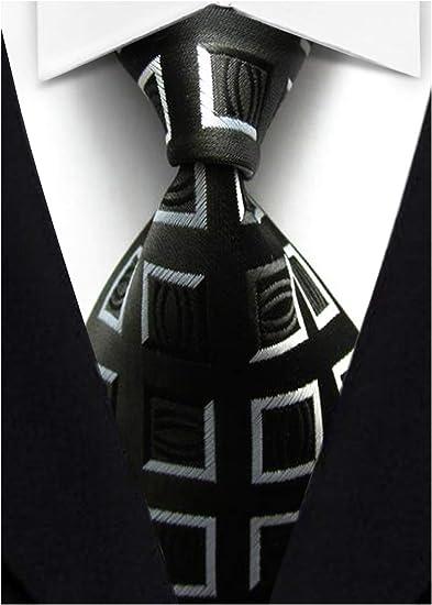 Black Gray  Plaid Man Classic JACQUARD Woven Necktie Tie Casual New