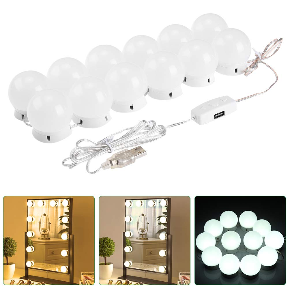 LEDGLE LED USB Vanity Mirror Lights Hollywood Style Makeup Mirror Lights Kit with 12 Dimmable Bulbs, 5 Brightness Levels, 3 Color Temperature Modes,Include 20pcs 3M Tape for Makeup Vanity Table