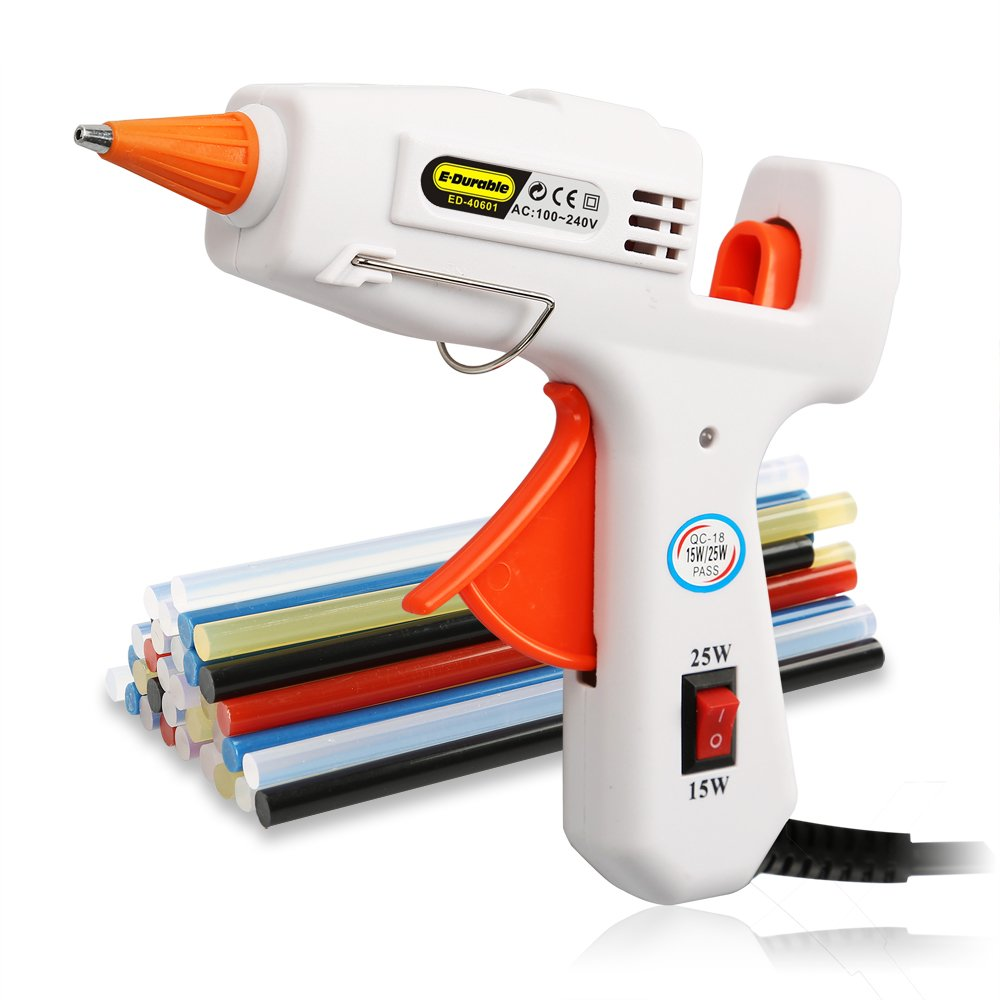 E.Durable Hot Melt Glue Gun Kit with 40 Multi-Colored Glue Sticks for DIY Handcraft School Projects/Home Arts/Crafts / Repair | Flexible Trigger | (15W/25W)