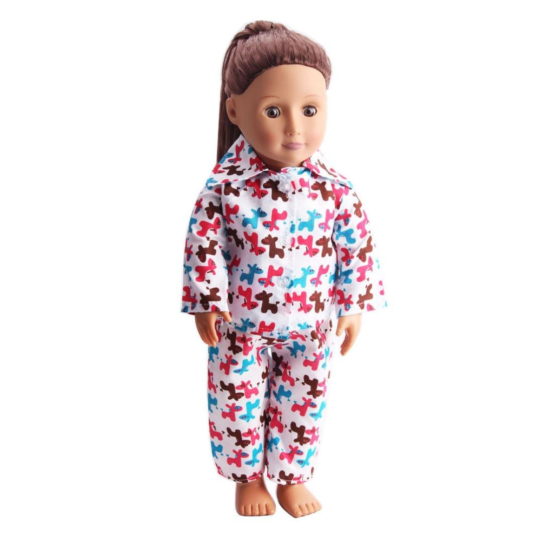 Prevently New Fashion Cute Design Trojan Printing Pajamas Nightgown Clothes for 18 inch Our Generation American Girl Doll Suit Accessories (A)
