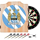 Premier League Manchester City Football (Soccer) Club Design Deluxe Solid Wood Cabinet Complete Dart Set