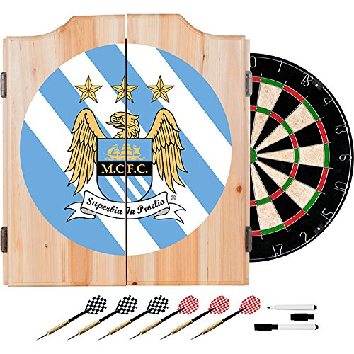 Premier League Manchester City Football (Soccer) Club Design Deluxe Solid Wood Cabinet Complete Dart Set by TMG