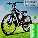 Power Plus Electric Mountain Bike, 36V Lithium Battery Electric Mountain Bicycle 25'' Aluminum Alloy Frame Mountain Bike Cycling Bicycle Black [US STOCK]