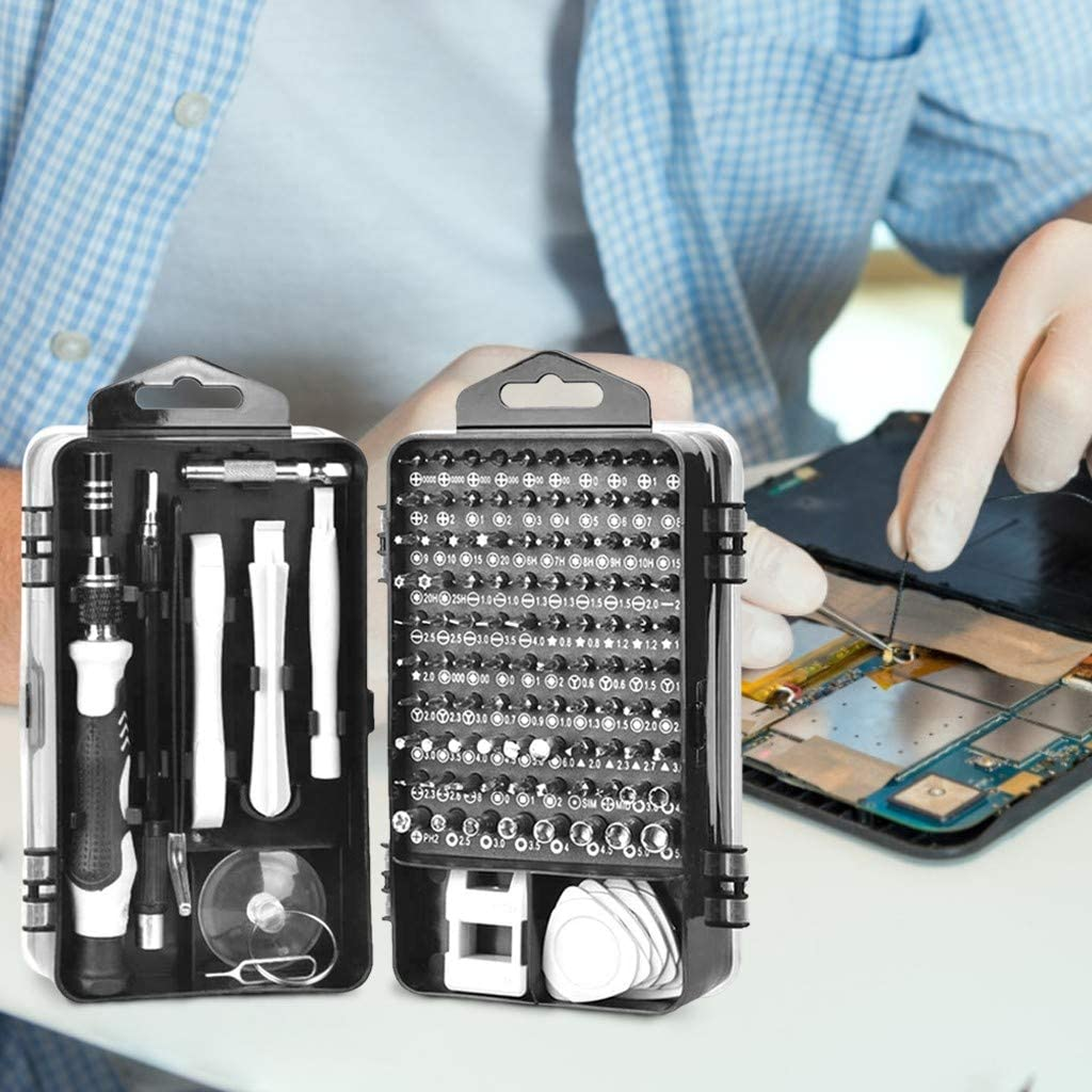 Weisfe78 115 in 1 Magnetic Repair Tool Kit for Tablet//Laptop//Game console//Eyeglasses//Watch//Cellphone//PC//Camera//Electronic Precision Screwdriver Set