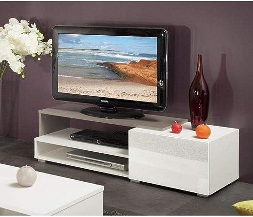 Pacific – Mueble TV color blanco y topo lacado brillant. pequeño modelo: Amazon.es: Hogar