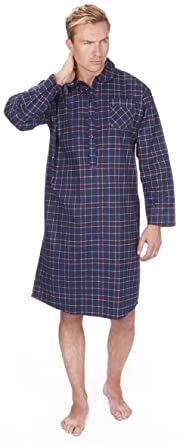 ecbfe40c2d Mens 100% Brushed Flannel Cotton Nightshirt Striped or Checked Blue Red Navy