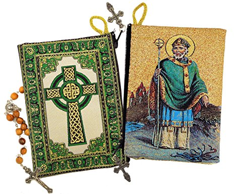 St Saint Patrick Cloth Tapestry Icon Rosasy Pouch Case Irish Cross 5 3/8 ()