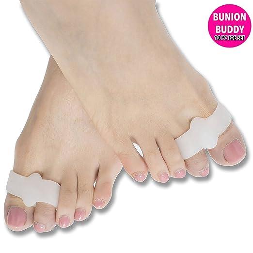 Glamza - Juego de 10 piezas de correctores de juanetes de silicona para la salud de los dedos del pie Hallux Valgus: Amazon.es: Salud y cuidado personal