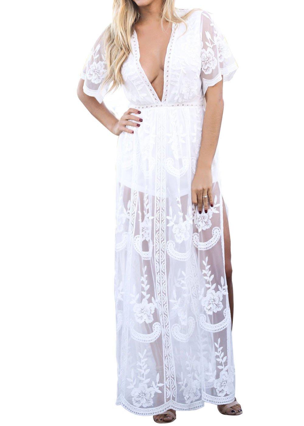Eleter Women's Deep V-Neck Lace Romper Short Sleeve Long Dress (L,White)
