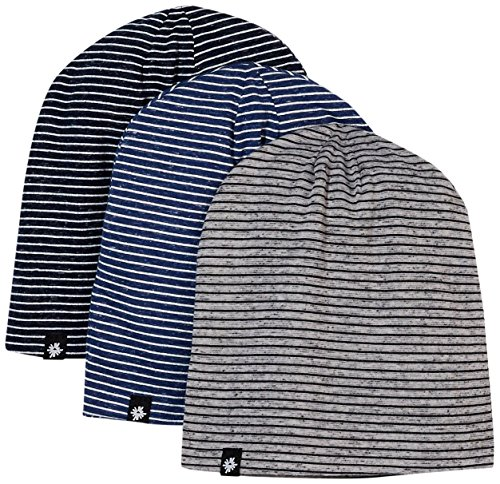 Cotton Knitted Beanie Hat - Rebel Canyon Men's 3 Pack Cotton Stripe Knitted Beanie Hats