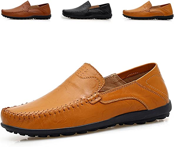 British Men/'s Casual loafer shoes Outdoor soft Breathable Slip On Men Flats