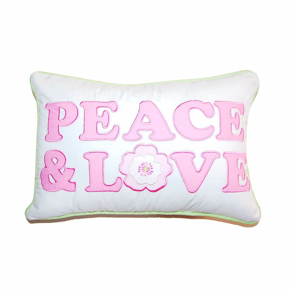 Cozy Line Home Fashions Letters Throw Pillow, Pink White Green Character Flower 3D Embroidered Print,100% COTTON, Stuffed Toy Doll Decorative Pillow for Kids Girls(Peace & Love, Decor Pillow -1pc)