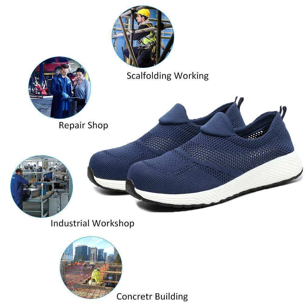 Scarpe Antinfortunistiche Uomo Donna con Punta in Acciaio Unisex Leggere Traspiranti Scarpe Sportive di Sicurezza Sneaker Estive Blu 43