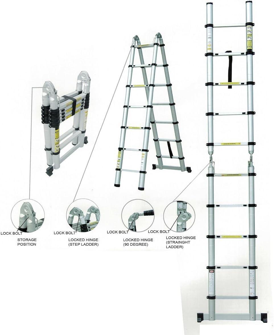 Escalera telescópica – Escalera extensible Escalera multiusos Escalera escalera de aluminio extensible Escalera escalera escalera de aluminio hasta 5 m: Amazon.es: Bricolaje y herramientas