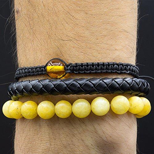 Set of 3 Bracelets, Arm Candy, Stackable, Macrame Bracelet with Baltic Amber, Braided Leather Bracelet, Quartz Bracelet 8 mm, XS-XXL Sizes, Gift Box (Stackable Amber)