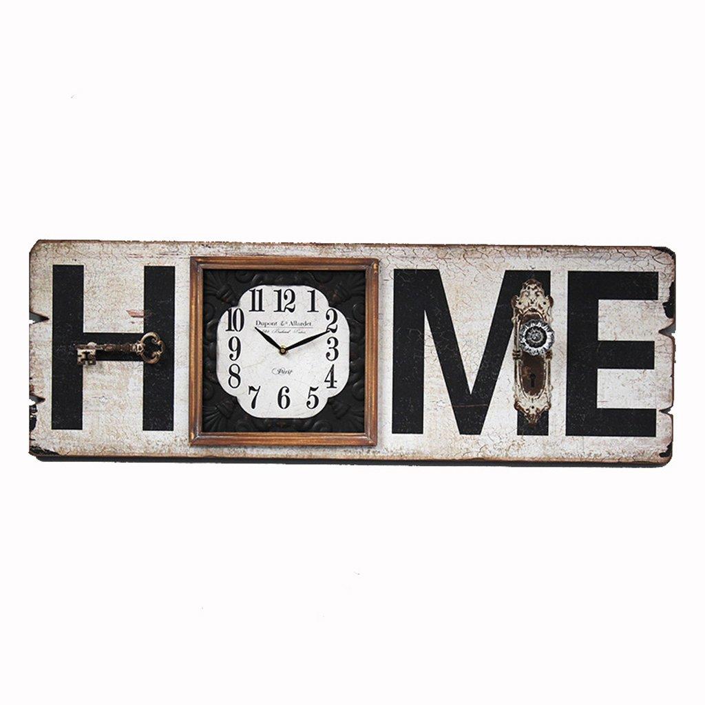 JJJJD ヴィンテージの壁掛け時計レトロな壁掛け木製時計、「ホーム」デザイン壁掛け時計クォーツ付きフレーム   B07R5CQRW5