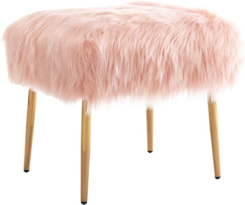 chairus Modern Ottoman Footrest Stool Pink Faux Fur Upholstered Square Accent Stools with Gold Metal Legs for Bedroom Living Room