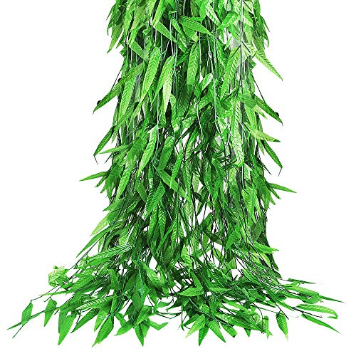 CEWOR 70pcs Artificial Vine Greenery Garland Artificial Willow Rattan Fake Leaves for Balcony Courtyard Decor