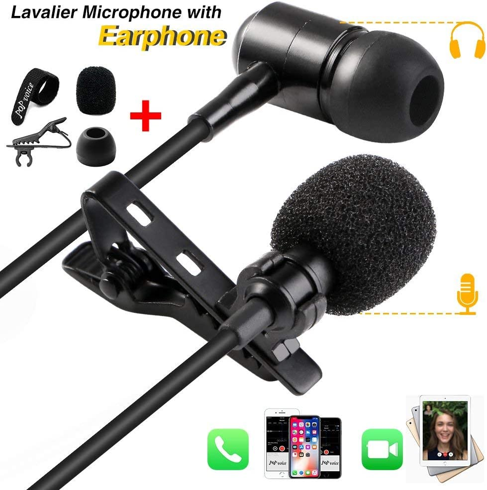 PoP voice 16 Feet Lavalier Lapel Microphone Omnidirectional Condenser Mic with Fill Light