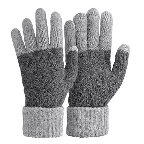 Omechy Unisex Winter Warm Knit Mittens Texting Gray Touchscreen Gloves For Men And Women