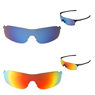 94a6ae77af0 Amazon.com  Walleva Polarized Fire Red + Ice Blue Replacement Lenses For Oakley  EVZero Pitch Sunglasses  Clothing