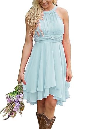Lilibridal Short Bridesmaid Dresses Wedding High Neck Prom ...