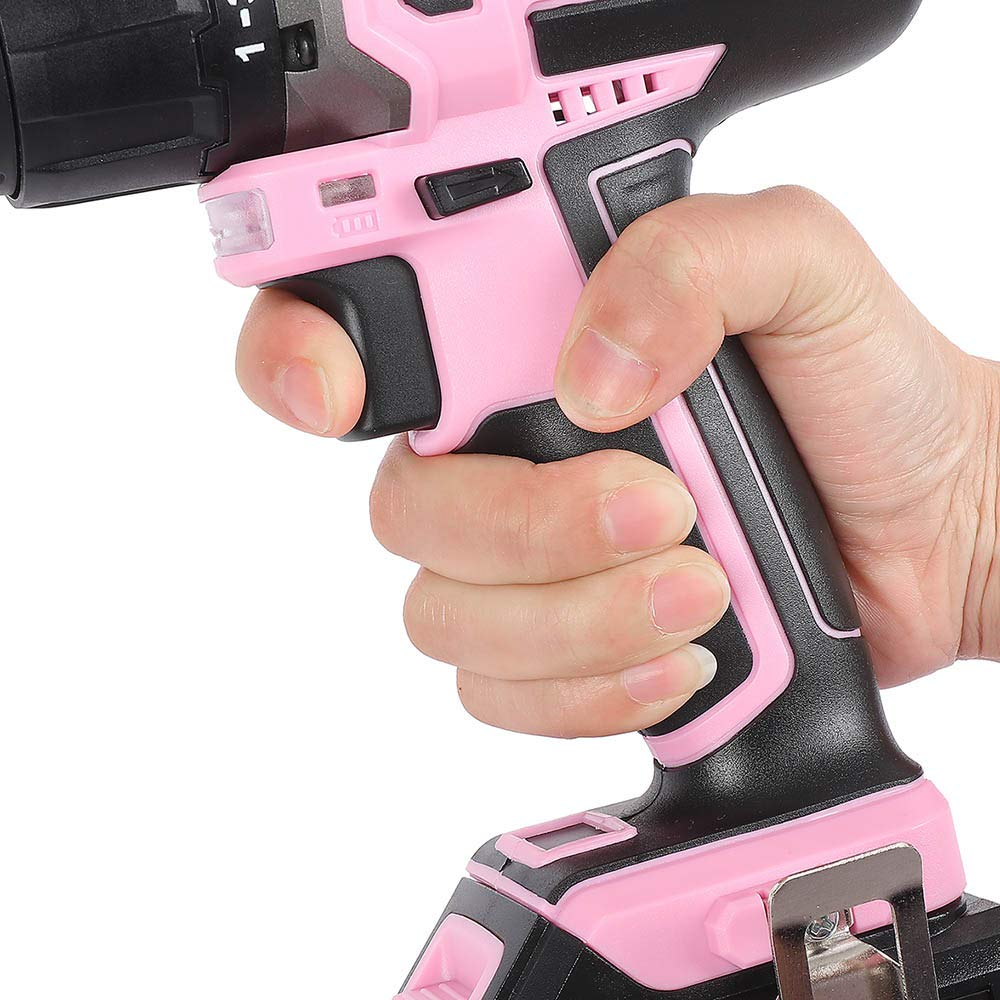 WORKPRO Pink Cordless 20V Lithium-ion Drill Driver Set 1.5Ah ,1 Battery Charger and Storage Bag Included