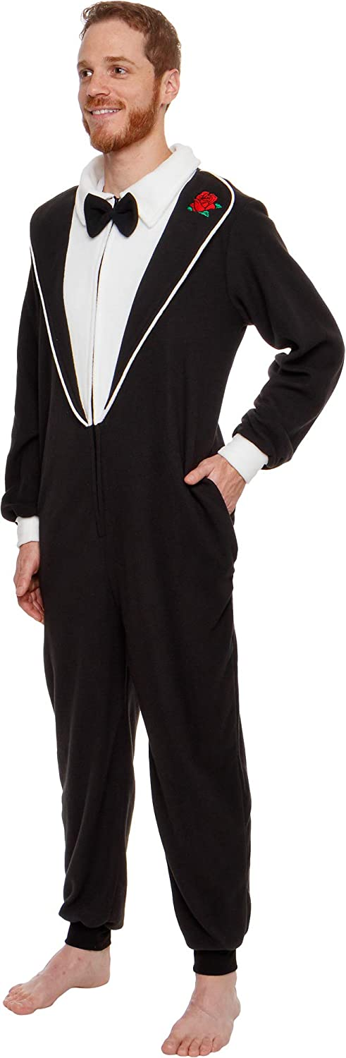 Silver Lilly One Piece Tuxedo Costume - Adult Novelty Cosplay Jumpsuit Pajamas