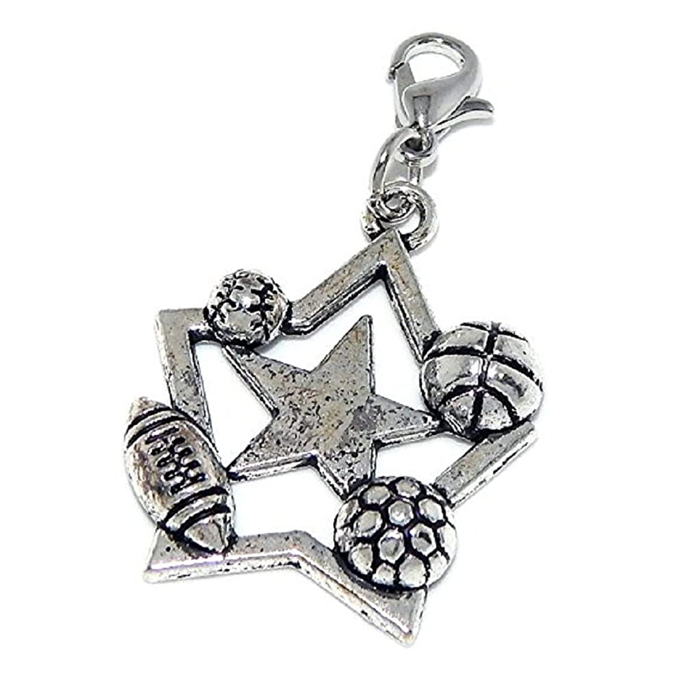 GemStorm Silver Plated Dangling Sports Star Clip On Lobster Clasp Charm