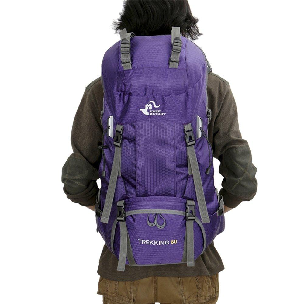 Free Knight 60L ハイキングバックパック 登山 キャンプ トレッキング 旅行バッグ 大容量 リュックサック 内部フレーム 防水 アウトドア B07GTWYV22 パープル