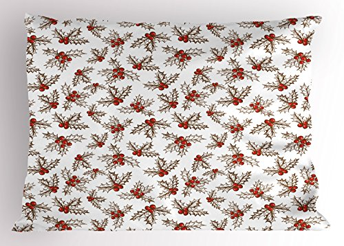 Christmas Pillow Sham by Ambesonne, Winter Season Harvest Holly Berries Vintage Floral Composition Ornate Leaves, Decorative Standard Size Printed Pillowcase, 26 X 20 Inches, Scarlet Brown - Berry Standard Sham