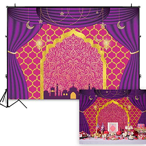 - Funnytree 7x5ft Magic Genie Theme Party Backdrop Egyptian Moroccan Arabian Gold Indian Bollywood Birthday Photography Background Pink Glitter Sweet 16 Baby Shower Photo Decorations Banner Photobooth