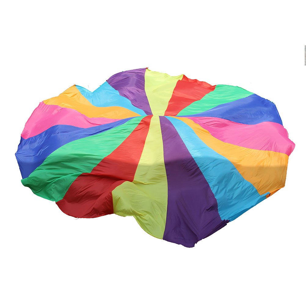 NUOBESTY Play Parachute Multicolored Children Team Work Educational Toy for Outdoor Games Sports Activities Cooperative Games