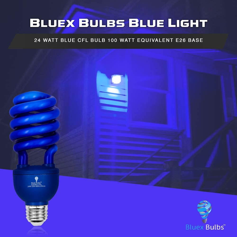 Easy Install Decorative Illumination DJ for Indoor or Outdoor Party Halloween Bulbs Colored CFL 100-Watt Equivalent 2 Pack BlueX CFL Blue Light Bulbs 24W E26 Spiral Replacement Bulbs