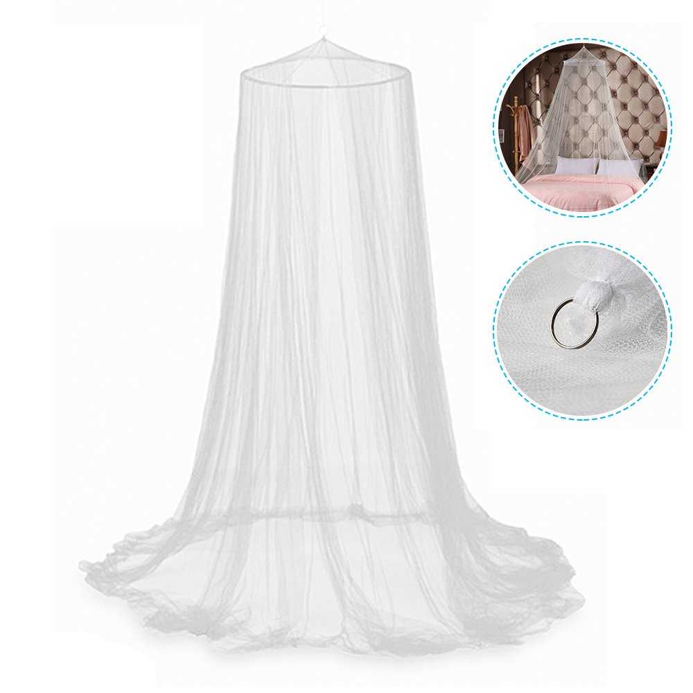 Windyus Dome Lace Canopy Mosquito Bed Netting Princess Curtains Net -Large Queen Size, White,Round - Perfect for Girls, Toddlers & Adults Or Over Baby Crib
