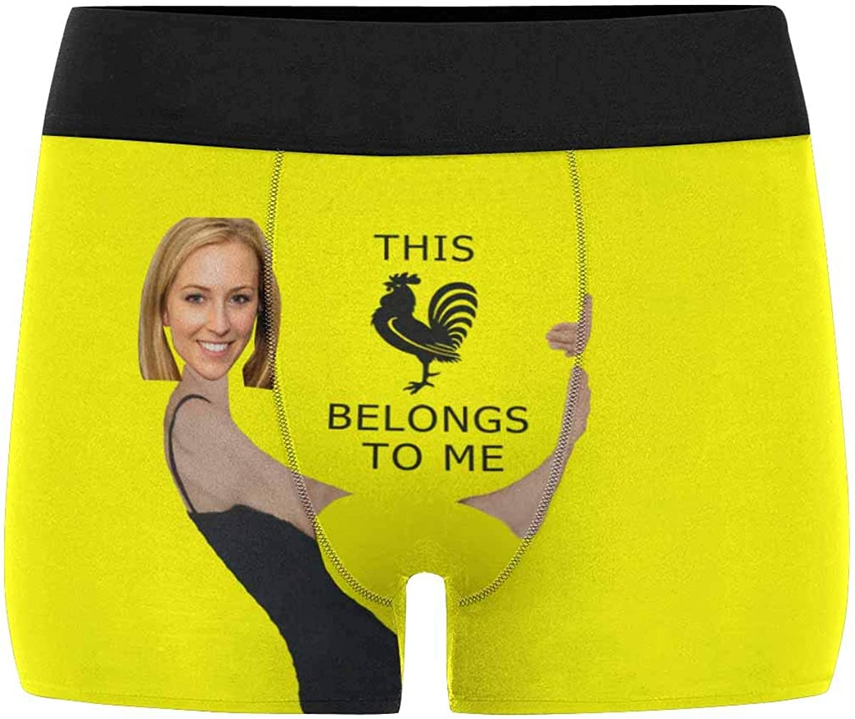 XS-XXXL Custom Mens Funny Girlfriend Face This Belongs to Me Boxer Shorts Novelty Briefs Underpants