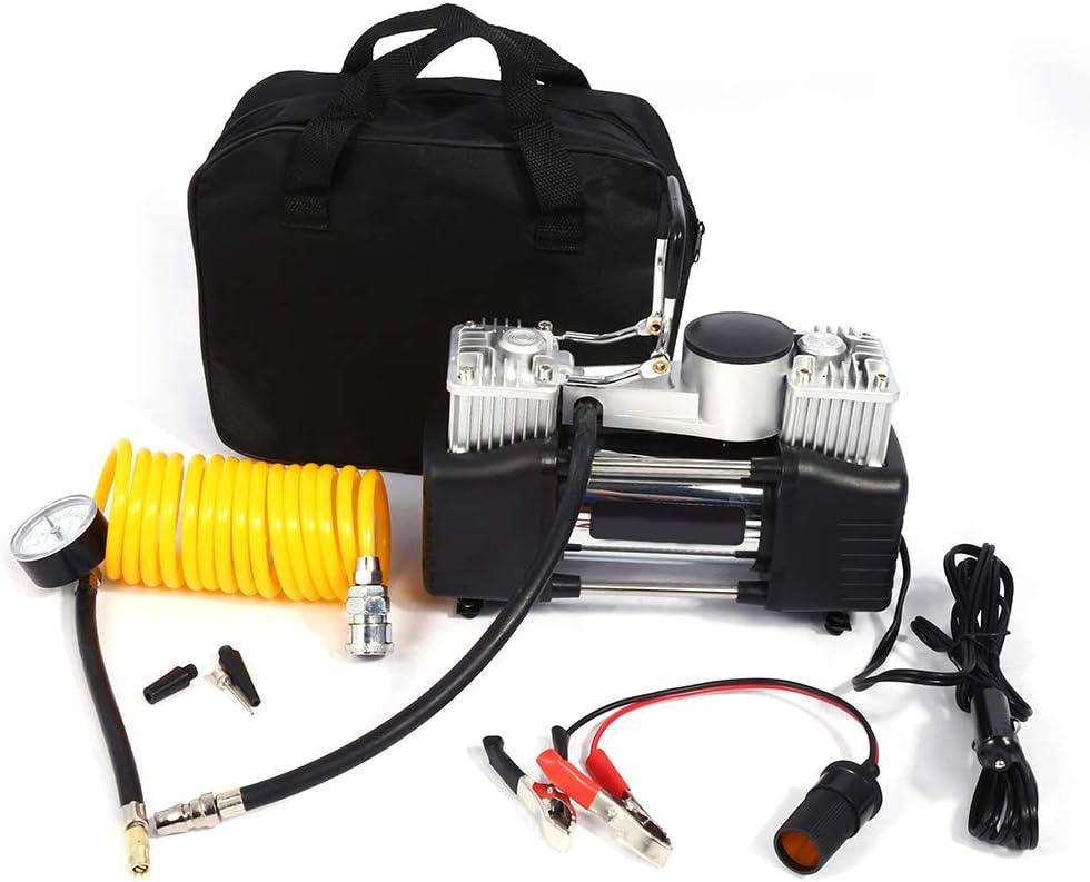 Zerone Compresor de Aire Eléctrico, Portátil Doble Bomba de Aire del Cilindro 12V Compresor de Inflado de Neumáticos con 4 Adaptadores de Boquilla para Sedán Coche Camión de Bicicleta Motorizada