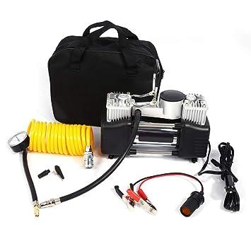 Zerone Compresor de Aire Eléctrico, Portátil Doble Bomba de Aire del Cilindro 12V Compresor de