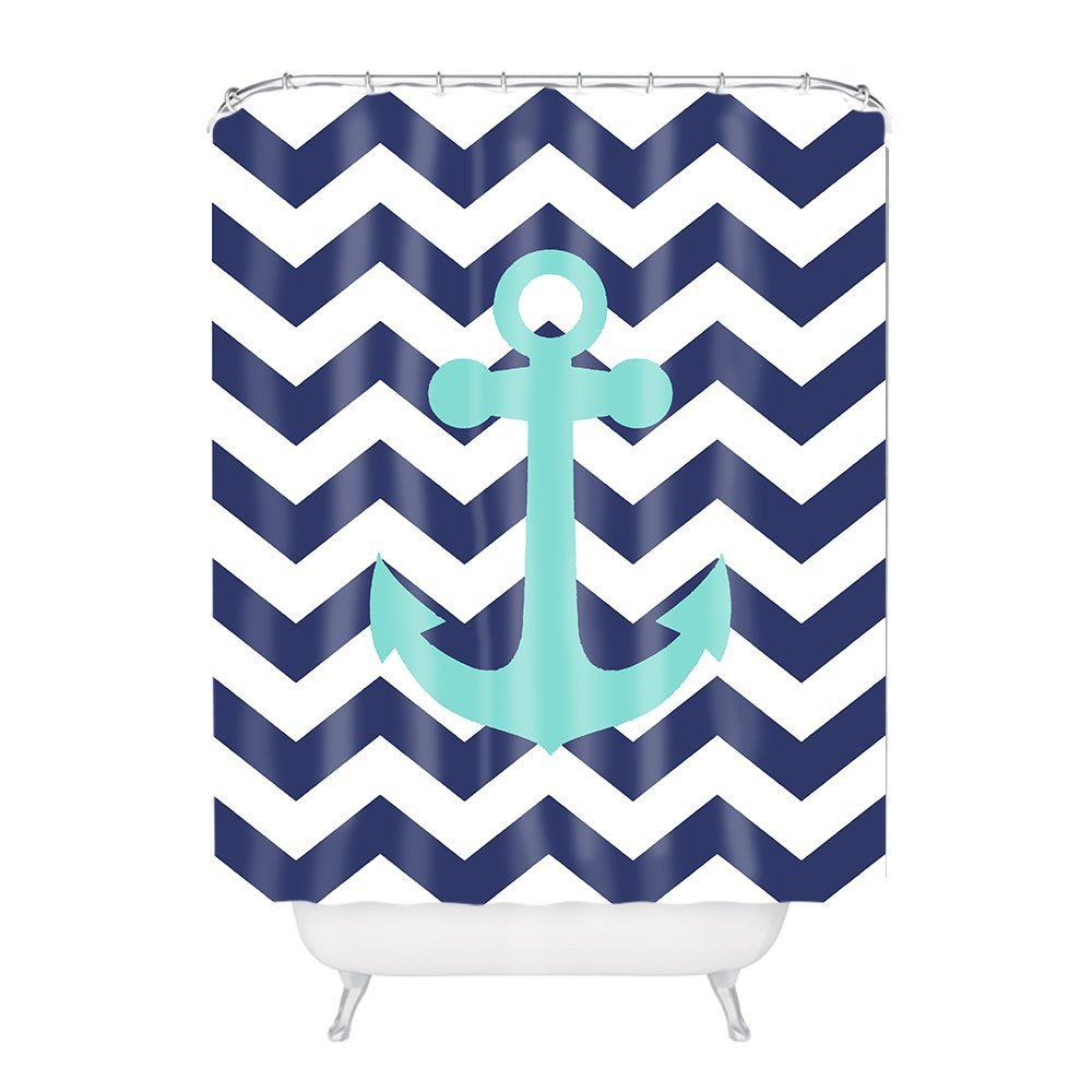 General Navy Blue Chevron with Nautical Anchor Polyester Fabric Bathroom Shower Curtain 6072Inch
