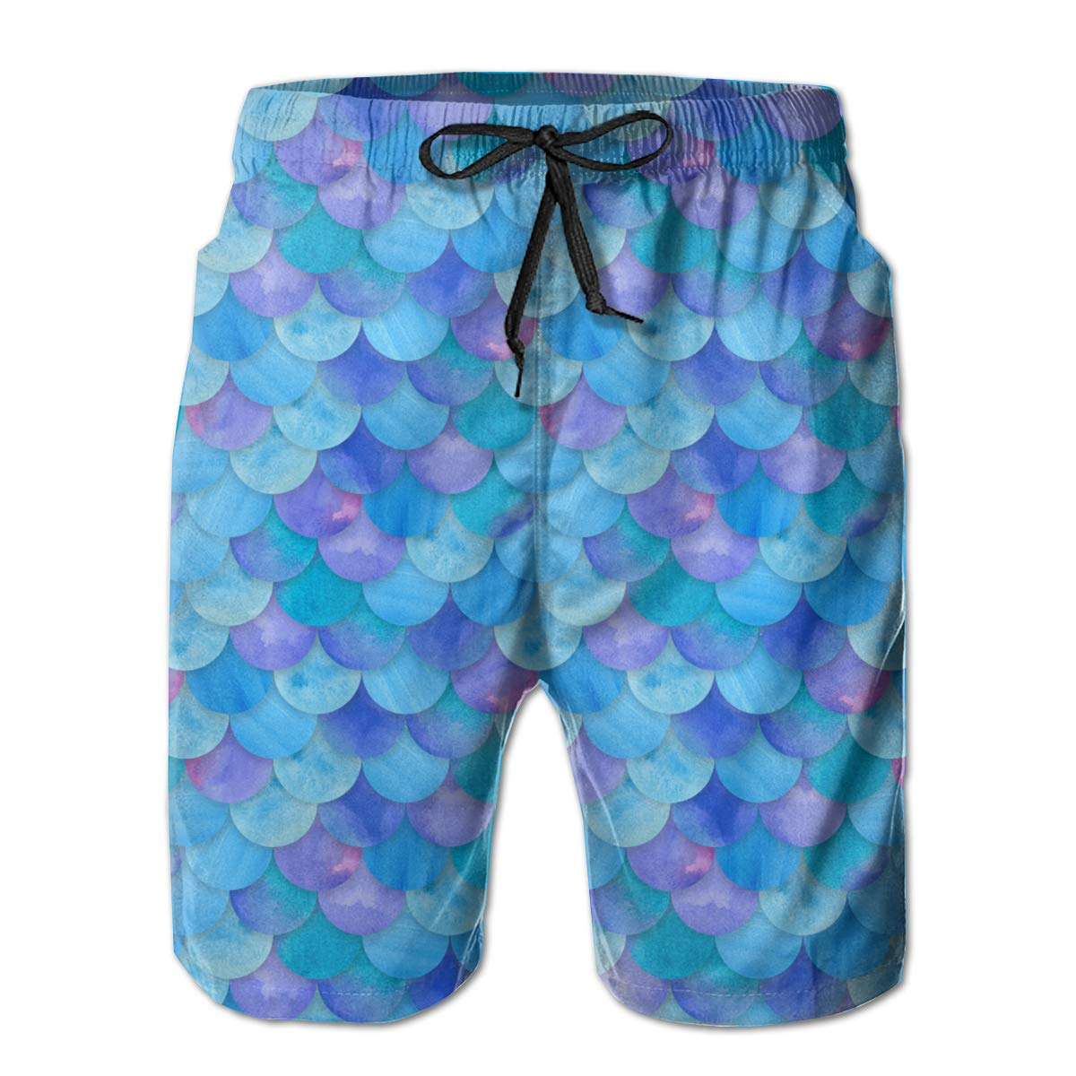 RolandraceMermaid Print Scales Patterns Mens Swim Trunks Quick Dry Bathing Suits Beach Holiday Party Board Shorts