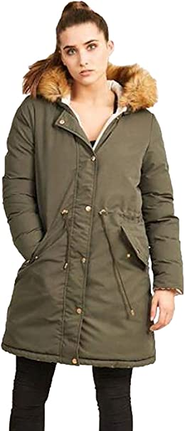 NEW BRAVE SOUL WOMENS QUILTED PADDED FUR HOOD MILITARY LADIES PARKA JACKET COAT
