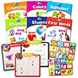 Disney Learning Books Set for Toddlers Kids -- 6 Educational Books, Matching Game, 3 Learning Mats (ABCs, 123s, Shapes, Colors and More!)