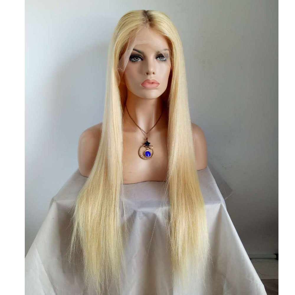 Amethyst Top Grade Brazilian Human Hair Ombre Blonde Glueless Full Lace Wig Deep Free Part 130 Density #613 Lace Front Wigs With Baby Hair For White Women (24inch, full lace wig) by Amethyst (Image #8)