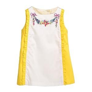 Rockin' Baby Girls White Yellow Ruffle Embroidered Garland Ava Dress 18-24M