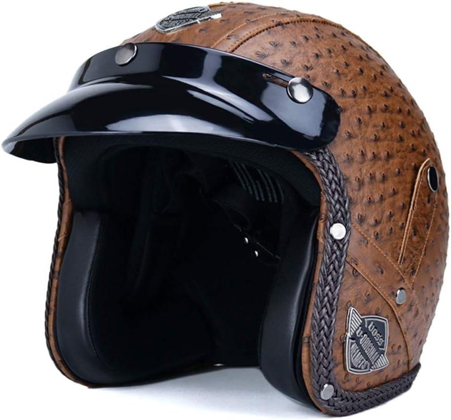 Casco de motocicleta Motocycle Cascos Casco 3/4 Piel Hombres y mujeres de deportes al aire libre Seguridad La mitad del casco protector (Color : 01 marrón-S)