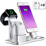 iPhone Airpods Apple Watch Charging Stand, Maxdara Aluminum AirPods Station Apple Watch iPhone Charging Docks Holder for AirPods / Apple Watch Series 3&2 / iPhone X/8/7/6 - ( 4 in 1)