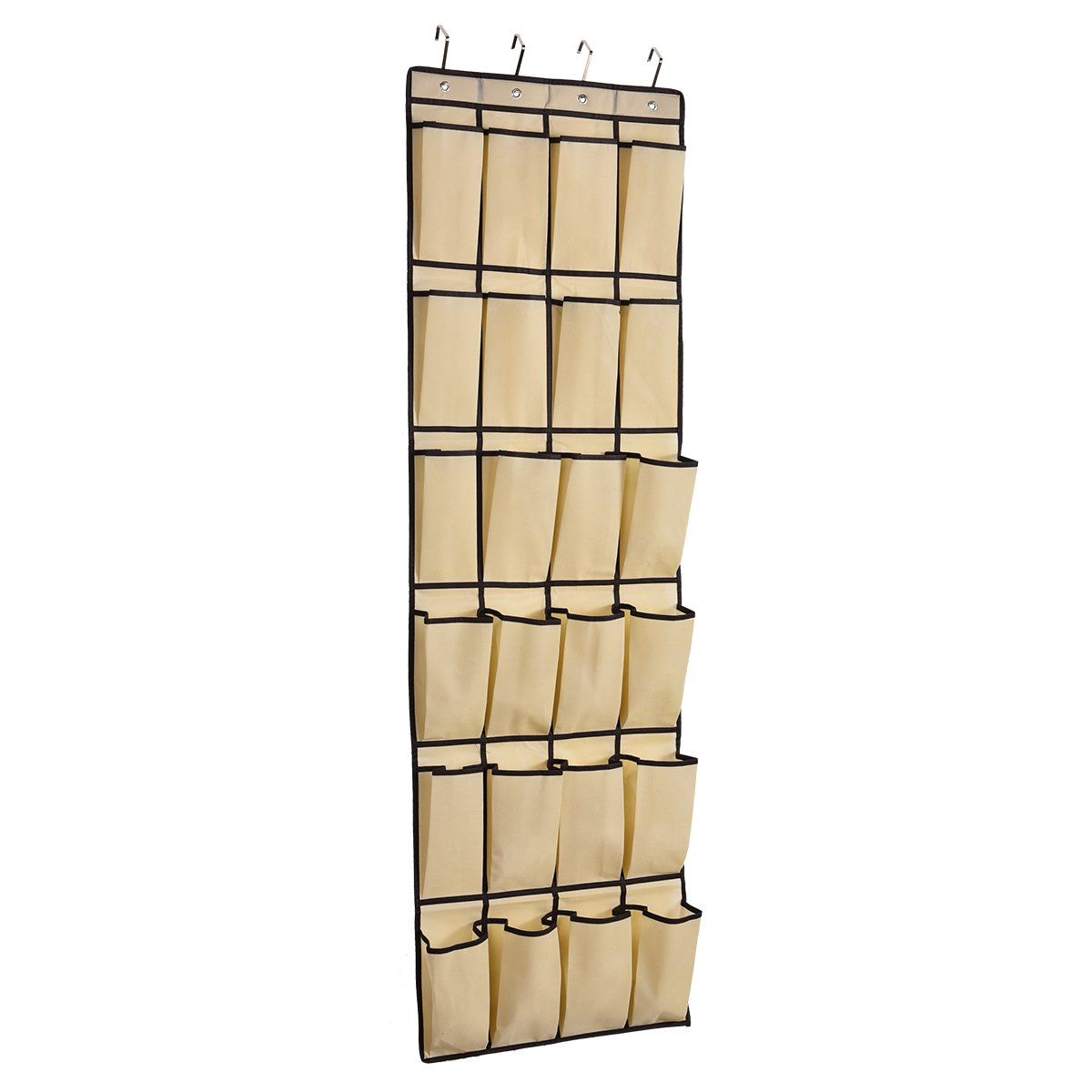 Bean c 24 Large Pocket Over Door Shoe Organizer Hanging Shoe Storage Non-Woven Closet Organizer With 4 Steel Hooks,Beige beanbean