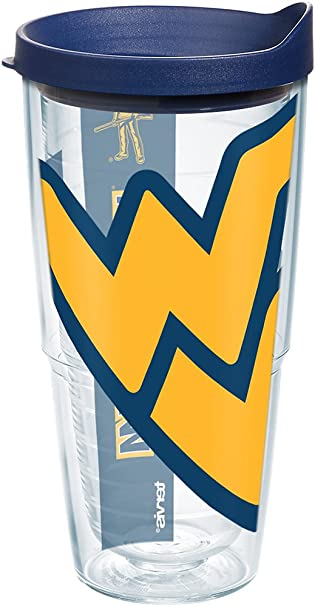 45382f54340 Tervis 1093912 West Virginia Mountaineers Colossal Tumbler with Wrap and  Navy Lid 24oz, Clear